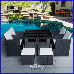 Rattan Garden Furniture Outdoor Table Cube Chairs Set 9 Pcs Conservatory UK