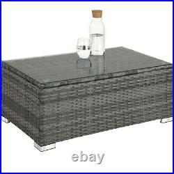 Rattan Garden Furniture Patio Lounge Seat Table Glass Top Storage Box Cushions