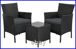Rattan Garden Furniture Set 3 Piece Patio Dining Set 2 Chairs 1 Coffee Table