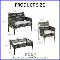 Rattan Garden Furniture Set 4 Piece Chairs Sofa Coffee Table Outdoor Patio Sets
