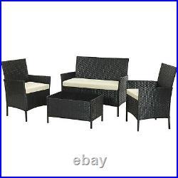 Rattan Garden Furniture Set 4 Piece Outdoor Patio Furniture Chairs Sofa Table