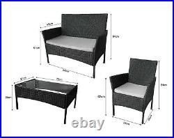 Rattan Garden Furniture Set 4 Piece Table Chair Sofa for Outdoor Black