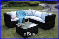 Rattan Garden Furniture Set 5 Seater Corner Sofa Set Patio Conservatory Black