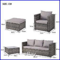 Rattan Garden Furniture Set 6 Pieces Patio Outdoor Sofa Set All weather (Grey)