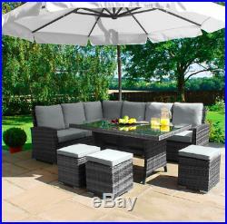 Rattan Garden Furniture Set 9 Seater Sofa Table Stool Patio Conservatory Corner