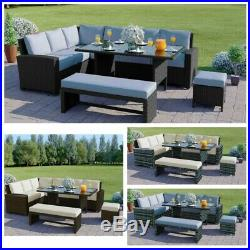 Rattan Garden Furniture Set Bench Corner Sofa Table Patio Black Grey Brown