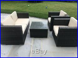 Rattan Garden Furniture Set. Brown And Cream. 2 Seater, 1 Table And 2 Chairs