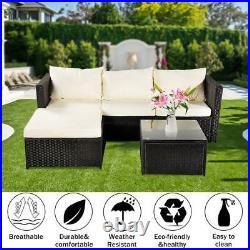 Rattan Garden Furniture Set Corner Lounge Sofa Table Outdoor Dining Bench Black