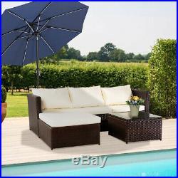 Rattan Garden Furniture Set Corner Sofa Glass Table Brown/black Outdoor Comfort