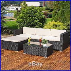 Rattan Garden Furniture Set Corner Sofa Lounger Table Outdoor Patio Conservatory