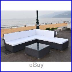 Rattan Garden Furniture Set Corner Sofa Lounger Table Outdoor Patio With Cushion