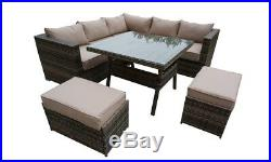 Rattan Garden Furniture Set Corner Sofa Outdoor Patio Table Chairs Aluminium