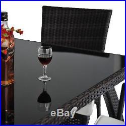 Rattan Garden Furniture Set Cube Dining Set Wicker 4 Seater Table Black