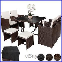 Rattan Garden Furniture Set Cube Dining Set Wicker 8 Seater Table Cushions