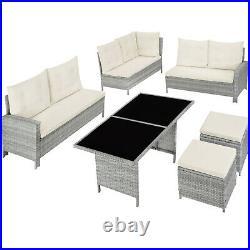 Rattan Garden Furniture Set Patio UV-Resistant Sofa Stool Cushions Glass Grey