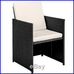Rattan Garden Furniture Set Wicker 8 Seater Table Cushions Cube Dining Set Black