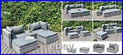 Rattan Garden Furniture Sofa Enzo Lounge Bed 5 Piece Set In or Outdoor