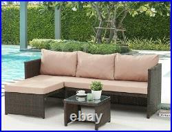 Rattan Garden Furniture Sofa Set Grey Brown Patio Outdoor Corner Lounge L-Shape