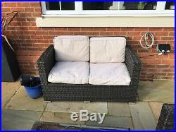 Rattan Garden Furniture Sofa Set (polyrattan). Two chairs, sofa and coffee table