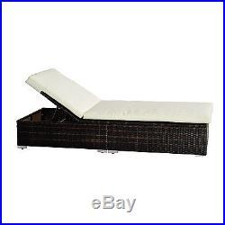 Rattan Garden Furniture Sun Lounger Recliner Bed Chair Pool Patio Reclining New