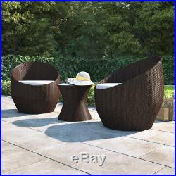 Rattan Garden Furniture Vase Set Wicker 3pc Patio Chairs Coffee Table Outdoor