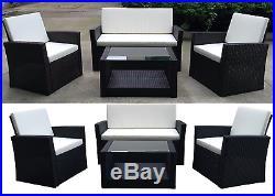 Rattan Garden Furniture Weave Wicker Sofa Set Conservatory Set Black Brown Roma