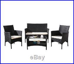 Rattan Garden & Patio Furniture Outdoor Table Chairs Sofa Set Wicker Steel Frame