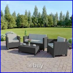 Rattan Garden Patio Sofa Table Set Furniture Conservatory 4 Piece Armchair
