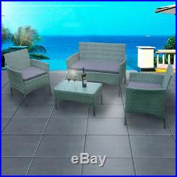 Rattan Garden Set Furniture 4 piece Set Chair Sofa Table Garden Patio Furniture