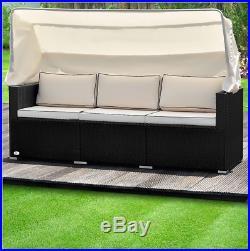 Rattan Garden Sofa Bench Sun Lounger Outdoor Patio Day Bed Patio Wicker Furnitur