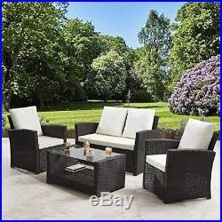 Rattan Garden Sofa Furniture Set Patio Conservatory 4 Seater Armchairs Table