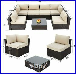 Rattan Garden Sofa Furniture Set Patio Conservatory 6 Seater Armchairs Table