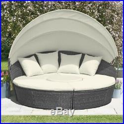 Rattan Grey Garden Furniture 183cm Daybed Outdoor Patio Seating 3pc Set GRADE B