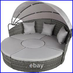 Rattan Grey Sun Lounger Day Bed Rattan Garden Furniture Seater Sofa With Canopy