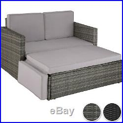 Rattan Lounge Sofa Double Chair Furniture Stool Set Cushion Garden Seating Patio