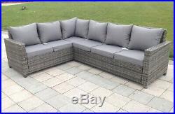 Rattan Outdoor Corner Sofa Set Garden Furniture in Grey