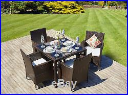Rattan Outdoor Garden Furniture Dining Table Set 4 Chairs Conservatory Patio