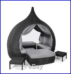 Rattan Outdoor Garden Furniture Grey Naples Day Bed Footstools Cushions