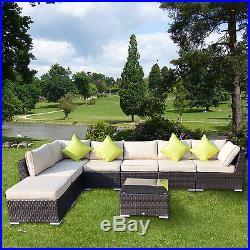 Rattan Outdoor Garden Furniture Patio Corner Sofa Set Weave Wicker Black Brown