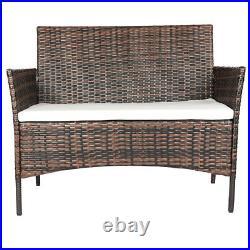 Rattan Outdoor Garden Furniture Set 4 Piece Chairs Sofa Table Patio Set Brown