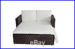 Rattan Outdoor Garden Sofa Furniture Love Bed Patio Sun bed 2 seater Brown New