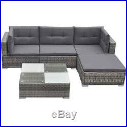 Rattan Outdoor sofa set Garden Lounge Grey Chairs Table Patio Furniture Corner