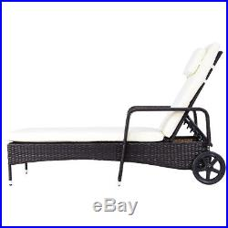 Rattan Recliner Chaise Lounge Outdoor Garden Sun Chair Bed Furniture With Cushion