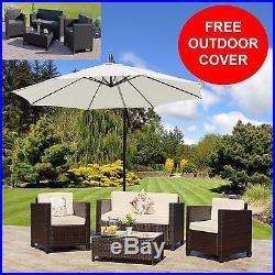 Rattan Roma Wicker Weave Garden Furniture Sofa Set Brown, Grey