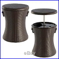 Rattan Style Outdoor Cool Bar Ice Cooler Table Garden Furniture Brown