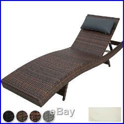 Rattan Sun Lounger Day Bed Recliner Garden Patio Balcony Furniture Outdoor