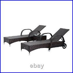 Rattan Sun Lounger Wicker Sofa Chair Table Set Garden Reclining Patio Furniture