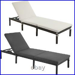 Rattan Sun Lounger withThick Mattress outdoor garden bed Garden Furniture Patio