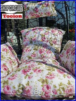 Rattan Swing Patio Garden Hanging Egg Chair Garden Furniture Floral Cushion