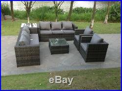 Rattan Wicker Conservatory Outdoor Garden Furniture Dining Set Corner Sofa Table